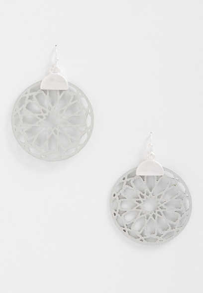 Gray Cut Out Drop Earrings