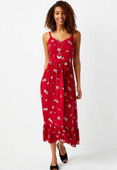 Red Floral Ruffle Midi Dress