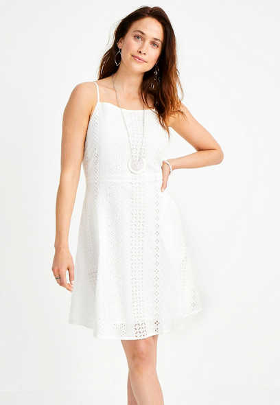 White Eyelet Lace Mini Dress
