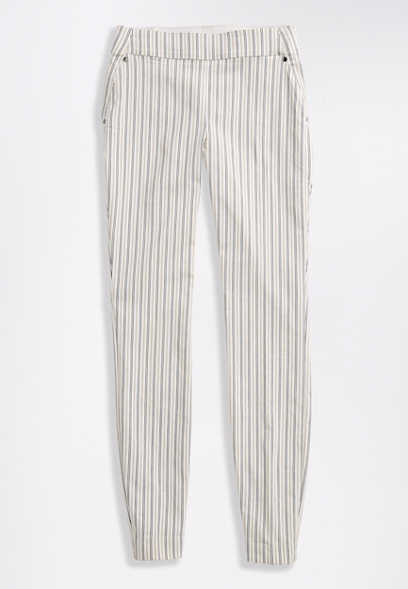 Stripe Pull On Bengaline Skinny Ankle Pant