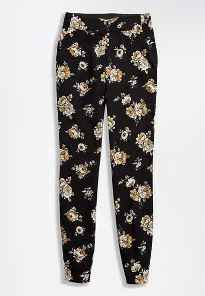 Floral Pull On Bengaline Skinny Ankle Pant