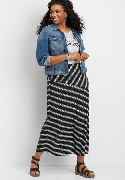 plus size stripe maxi skirt
