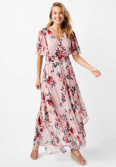 Pink Short Sleeve Floral Maxi Dress