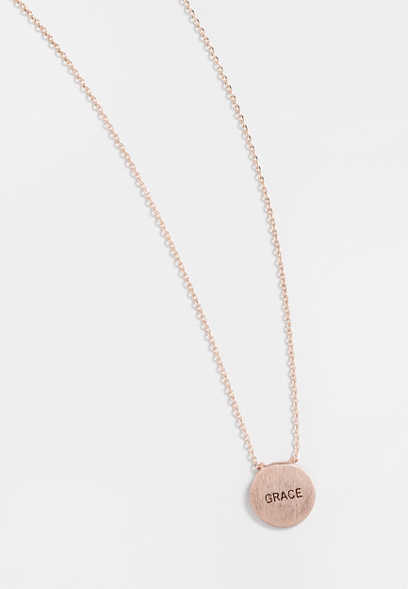 dainty rose gold grace necklace