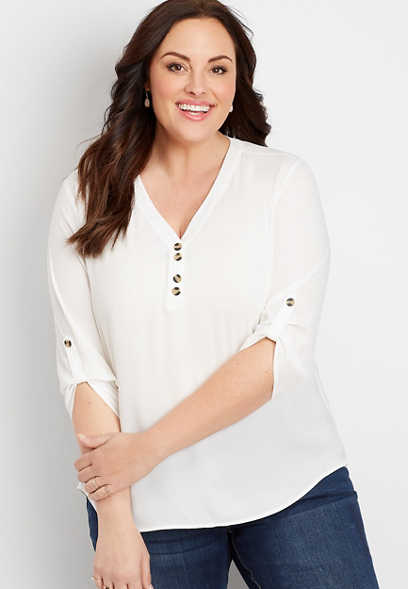 Plus Size White Double Button 3/4 Length Sleeve Blouse