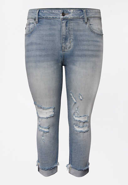 Plus Size KanCan™ High Rise Light Wash Backed Destructed Cropped Jean
