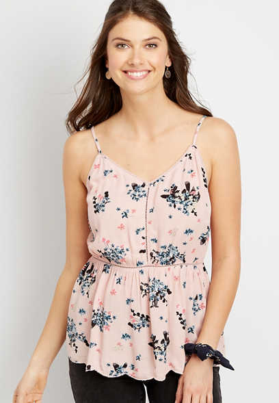 Pink Floral Crochet Trim Tank Top