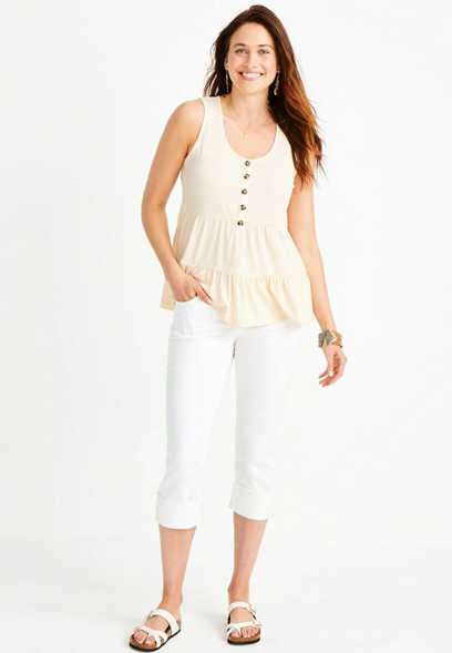 White Button Fly Cuffed Capri