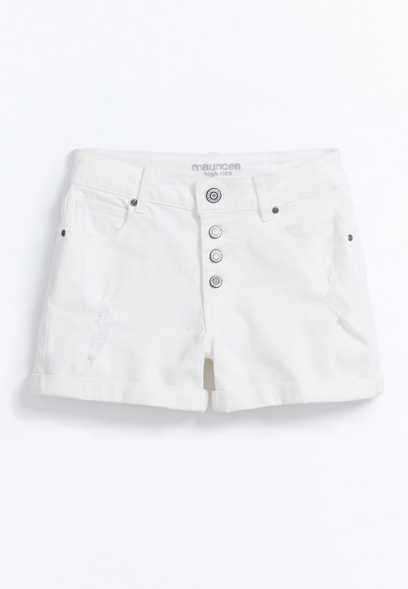 Maurices High Rise White Button Fly 3.5in Short
