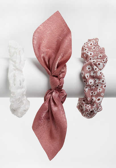 3 pack mauve scrunchie set