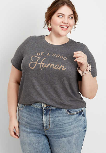 Plus Size Be A Good Human Graphic Tee