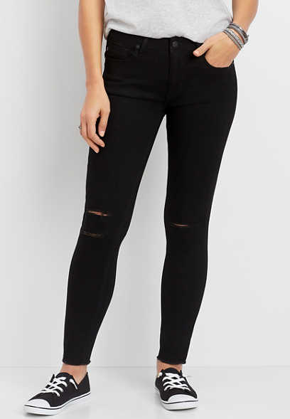 Vigoss® classic Marley black destructed skinny jean