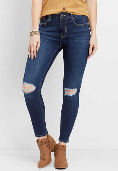 Vigoss® classic Ace high rise dark destructed skinny jean