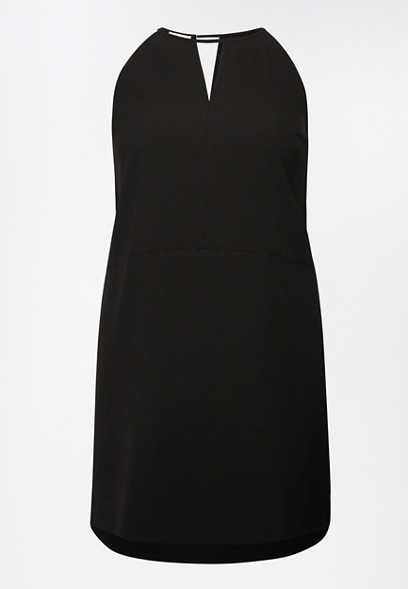 Plus Size Black Keyhole Shift Dress