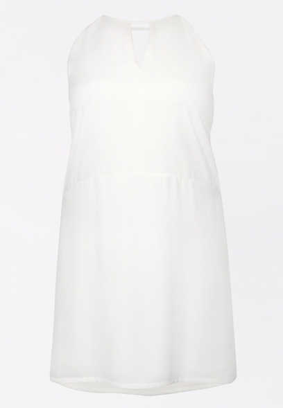 Plus Size White Keyhole Shift Dress