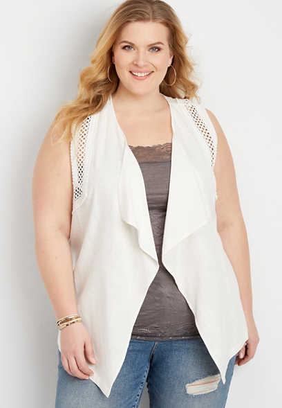 Plus Size Crochet Trim Vest