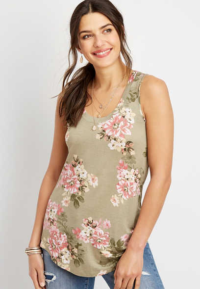 24/7 floral scoop neck tank