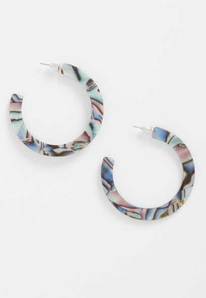 blue resin hoop earrings