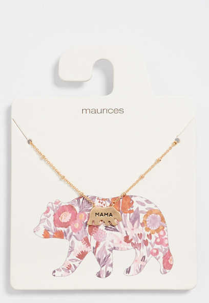 dainty mama bear necklace