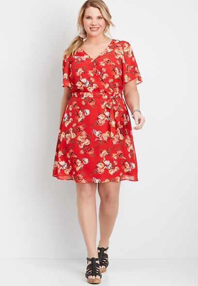 Plus Size Red Floral Wrap Skater Dress