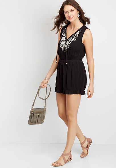 Dark Olive Green Embroidered Romper