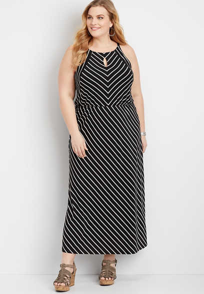 Plus Size Black and White Striped Maxi Dress