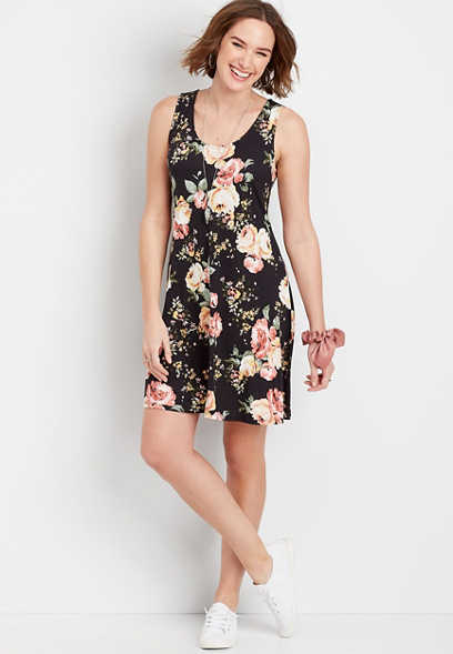 Floral Strappy Back Dress