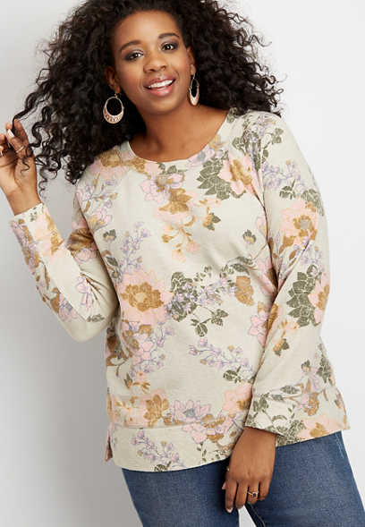 plus size floral crew neck pullover