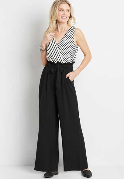 Stripe Top Paperbag Bottom Jumpsuit