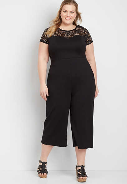 plus size lace illusion jumpsuit