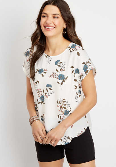 Blue Floral Zipper Back Blouse
