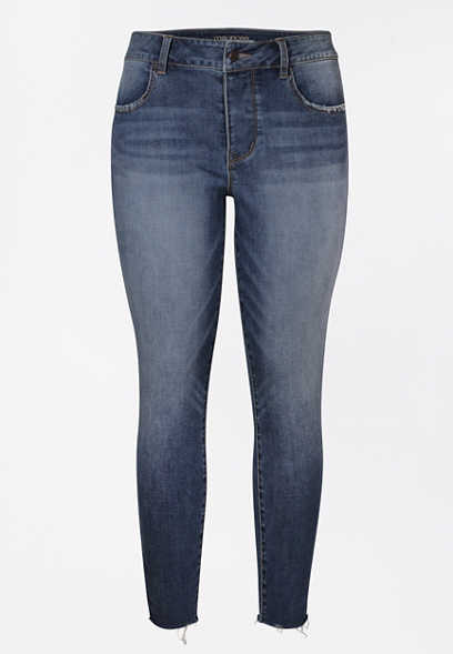 DenimFlex™ High Rise Dark Hidden Button Fly Ankle Jegging