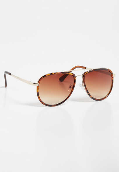 Tortoise Edge Aviator Sunlasses