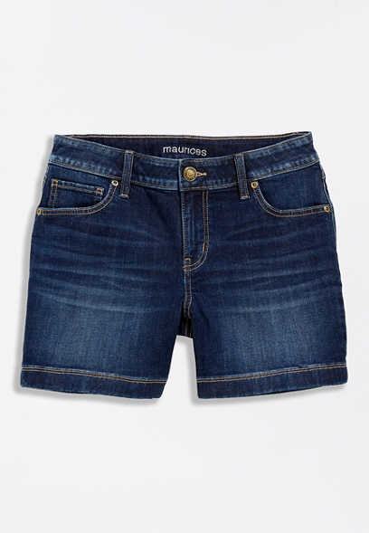 Dark Wash Wide Hem 5in Short