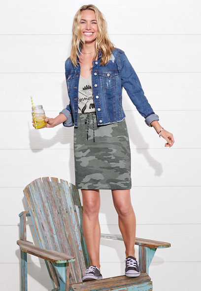 Camo Print Terry Cloth Skirt