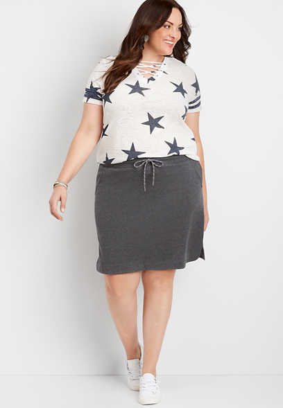 Plus Size Gray Terry Cloth Skirt