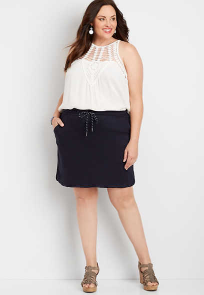 Plus Size Navy Blue Terry Cloth Skirt