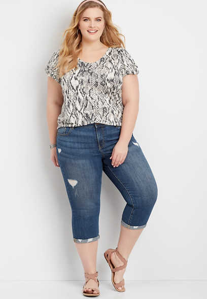 Plus Size Dark Wash Destructed Jean with Cuffed Hem