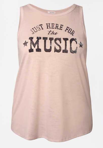 Plus Size Pink Here For The Music Graphic Tank Top