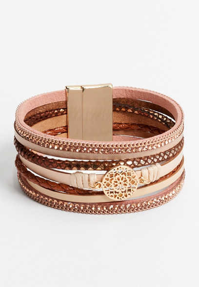 blush multi row magnetic bracelet