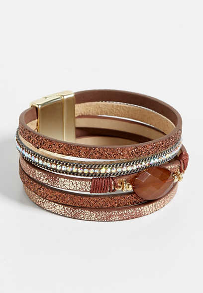 brown multi row magnetic bracelet