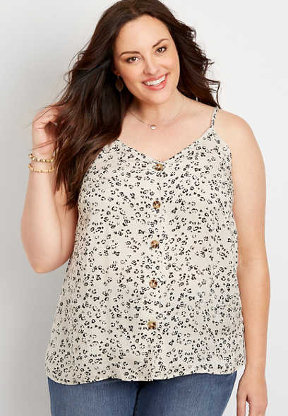 Plus Size Animal Print Button Front Cami Tank Top
