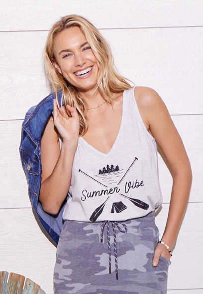 Summer Vibes V Neck Graphic Tank Top