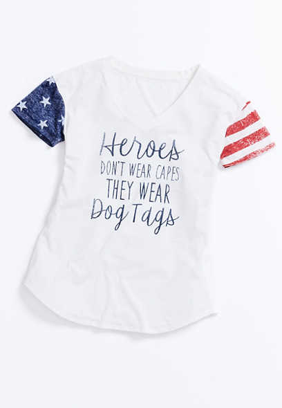 Heroes Wear Dog Tags Americana Graphic Tee