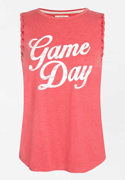 Red Game Day Braided Shoulder Graphic Tank Top