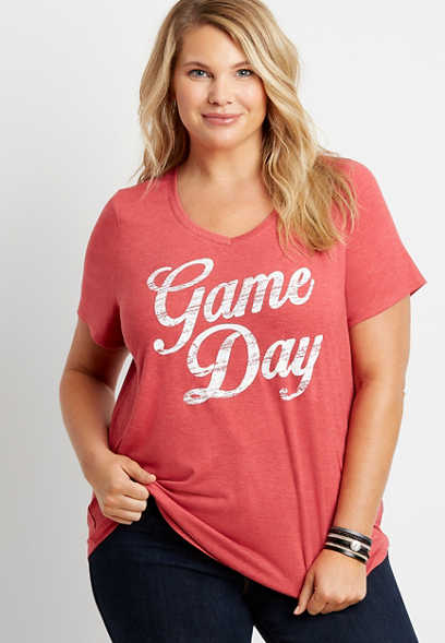 Plus Size Red Game Day V Neck Graphic Tee