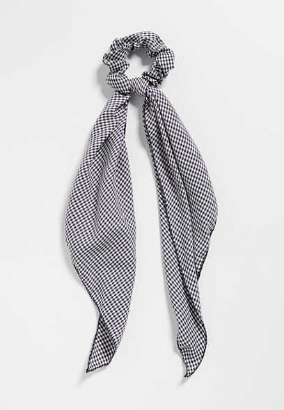 Navy Gingham Scarf Scrunchie