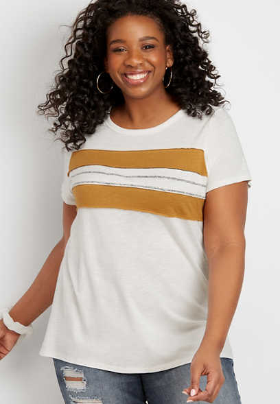 plus size 24/7 stripe baseball tee