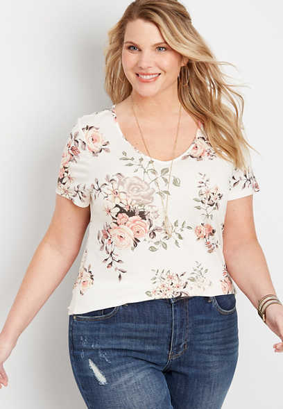 plus size 24/7 floral tuck in tee