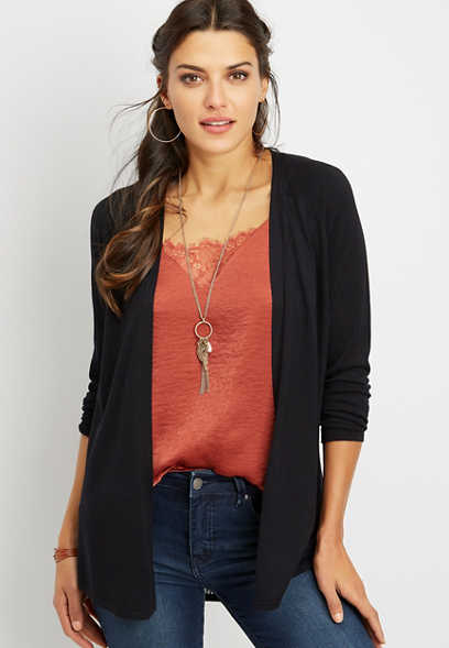 Solid Pointelle Back Open Front Cardigan
